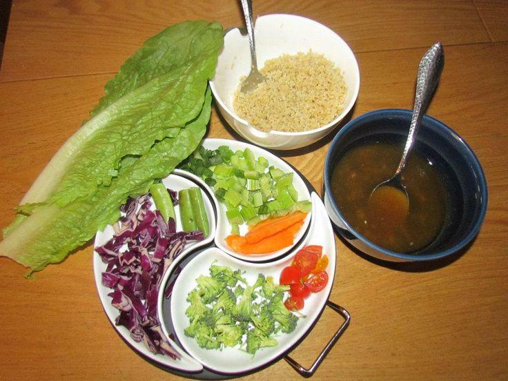 Quinoa Veggie Lettuce Wrap ingredients - quinoa, romaine lettuce, red ...