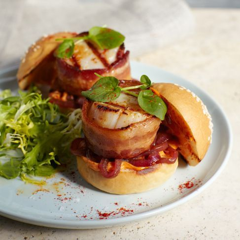 Bacon and Scallop Burgers. | Best of Burgers | Pinterest