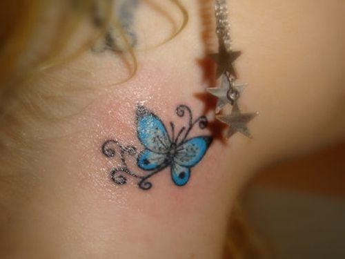 cute behind the ear tat