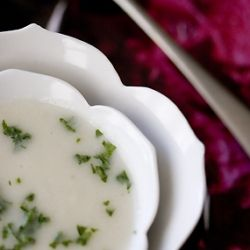 cauliflower soup with gorgonzola (and LOVE the bowls the soup is in!)