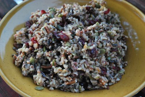 Wild Rice Salad with Dried Cranberries, Pumpkin Seeds, & Pecans