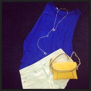 bluette minishort jeans bianco pochette gialla info@chicshake.it
