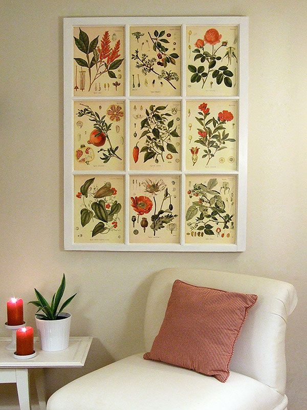 Window frame art. Site has link to FREE botanical prints.