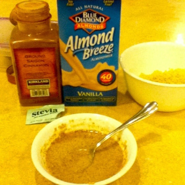 "rice pudding"" Quinoa, sweet almond milk, and cinnamon!"