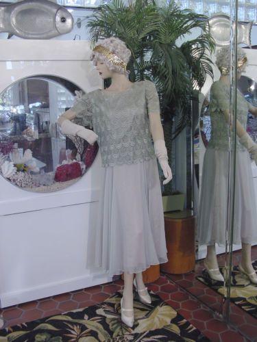 1920s dress 1930s flapper modern millie gatsby drop waist celery green