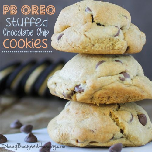 giant chocolate chip cookies stuffed with Peanut Butter Oreo cookies ...