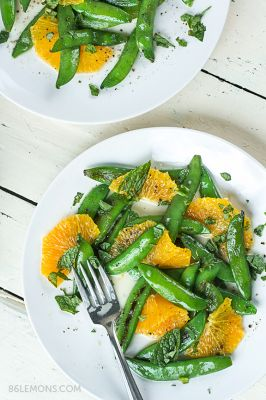 Sugar Snap Peas with Mint and Warm Coconut Dressing (v/gf)