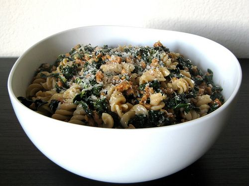 kale and sausage pasta. Would be good modified a bit with white wine ...
