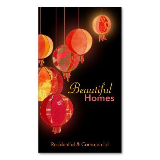 Red lanterns interior design business cards