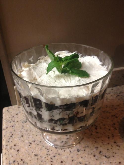 Mint Brownie Hot Fudge Oreo Trifle- SOOOO amazingly good! I omitted ...
