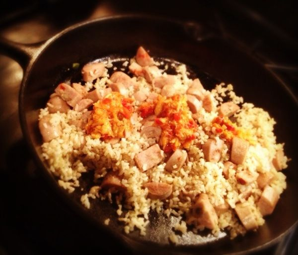 Glutenfree #10minutemeal Chicken sausage, brown rice & red pepper ...