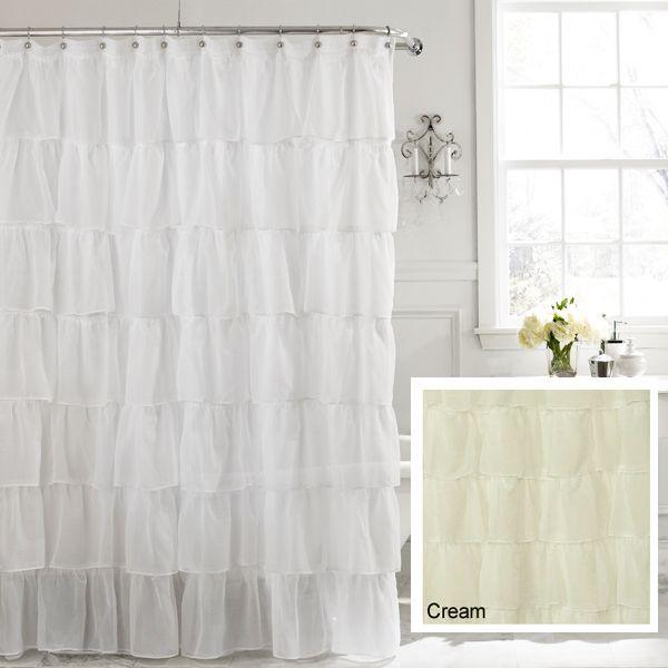 Cream 72 Gypsy Shabby Chic Ruffled Fabric Shower Curtain