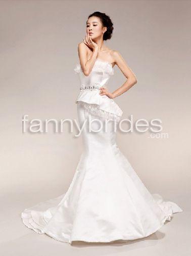 Fancy lace strapless princess summer mermaid wedding dress