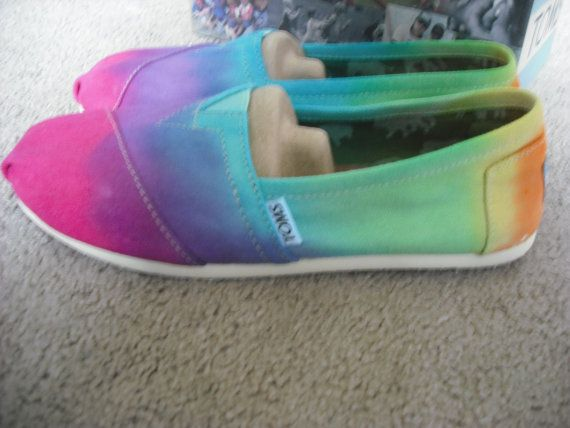 Tie dye Custom Toms shoes by DoYouDreamOutLoud on Etsy so cool!!