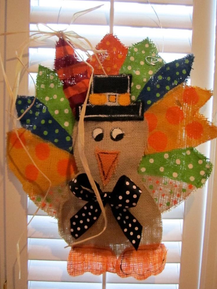 Thanksgiving turkey burlap door hanger door decoration 28 00 via