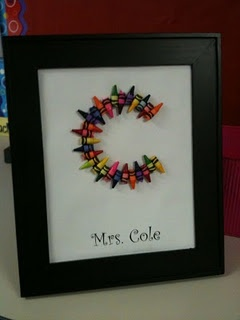 Framed Crayon initial great for teachers or artsy kids!