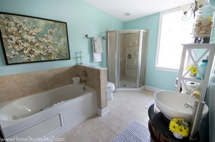 Sherwin Williams Watery Bathroom Makeover