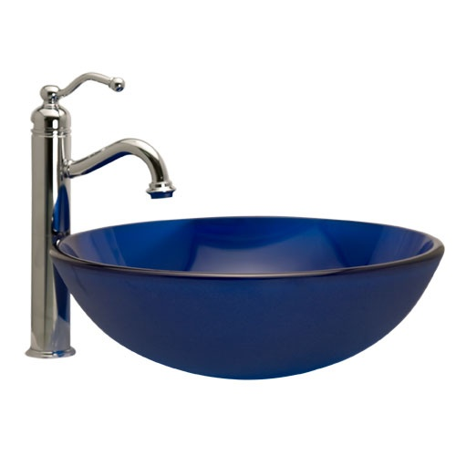 Frosted Dark Blue Glass Vessel Sink For the Home Pinterest