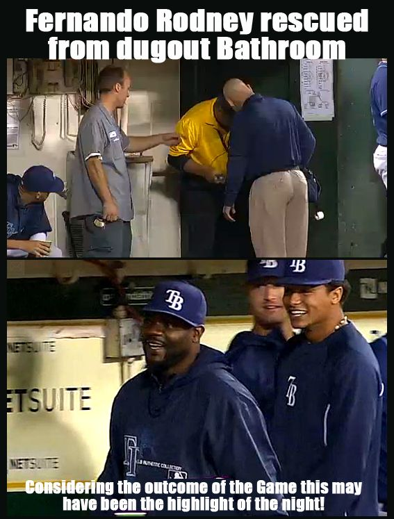 Tampa Bay Rays Pitcher Fernando Rodney Was Trapped In The Bathroom