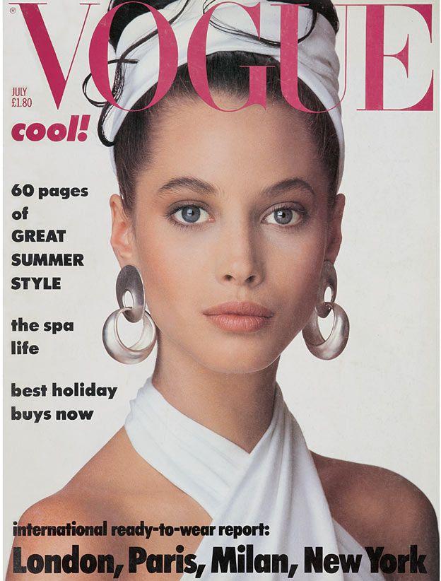 Christy Turlington in Donna Karan on the cover of Vogue UK July 1986