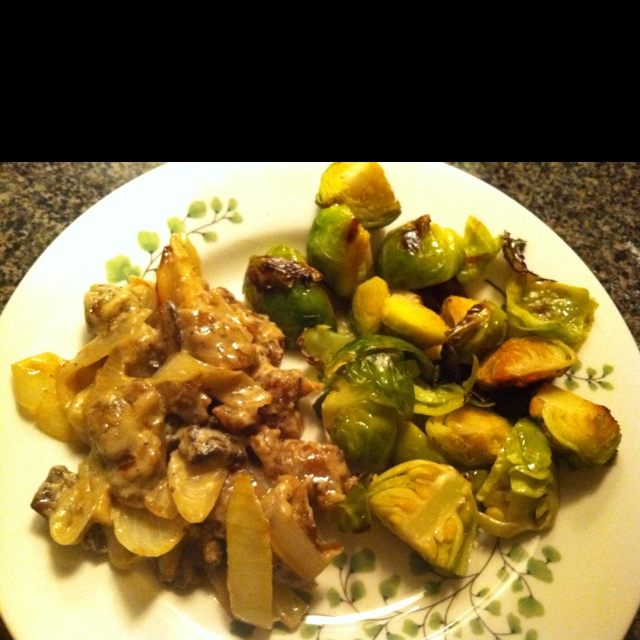 Seitan stroganoff sans noodle with roasted Brussels sprouts Set the ...
