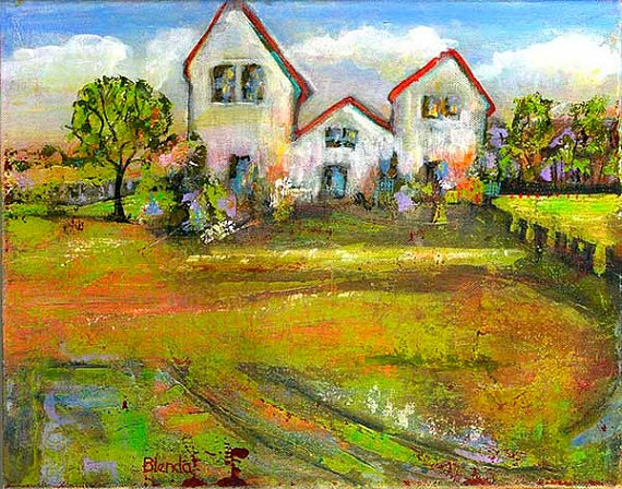 Painting on Canvas Original Art  Acrylic Landscape by blendastudio, $225.00