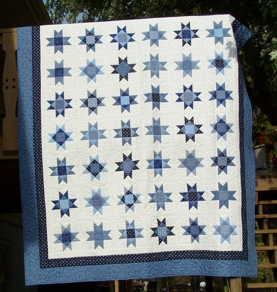 Machine Quilted Bed Standard Or Queen Blue Stars by SewHappytoSew, $650.00