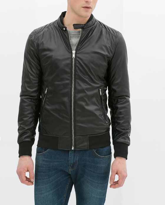 ZARA - MAN - FAUX LEATHER BOMBER JACKET   fashion that may work for m