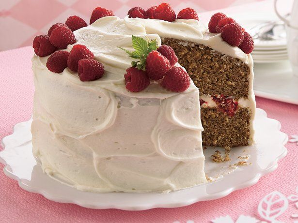 Spice Cake with Raspberry Filling and Cream Cheese Frosting. #food # ...