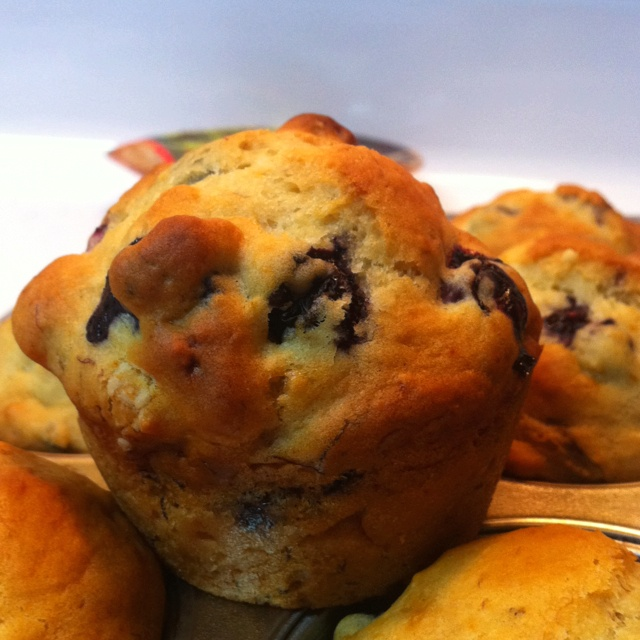Banana blueberry muffins from scratch. And... They're from a dieting ...
