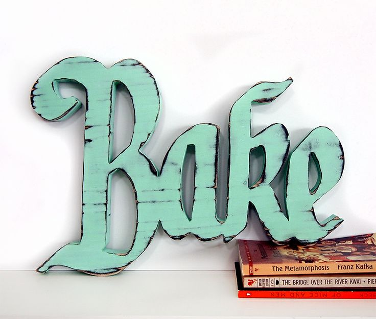 Wooden Bake Sign Pictured In Mint Pine Wood Sign Wall Decor Rustic