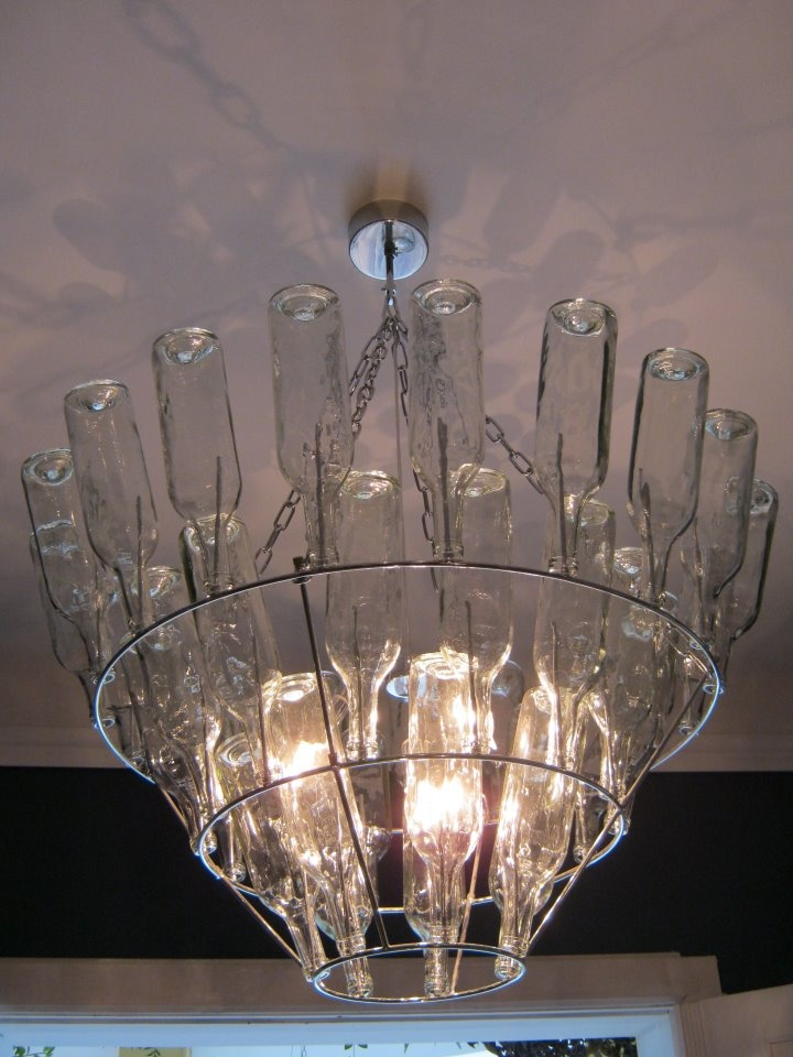 simple glass bottle chandelier diy pinterest