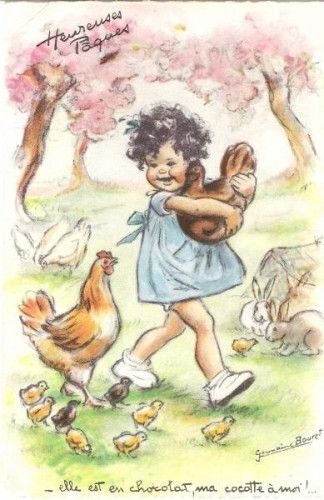 Vintage Easter card- Germaine Bouret