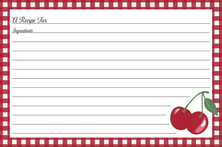 Kitchen Cherry Recipe Cards | Clip art and printables ...