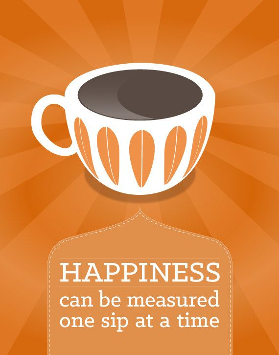 Coffee tea print typography happiness poster wall art for Tea and coffee wall art