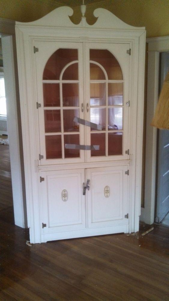 vintage antique corner cabinet with glass doors 48 x 92. Black Bedroom Furniture Sets. Home Design Ideas