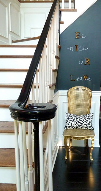 Wall treatment done with magnetic and chalkboard paint...