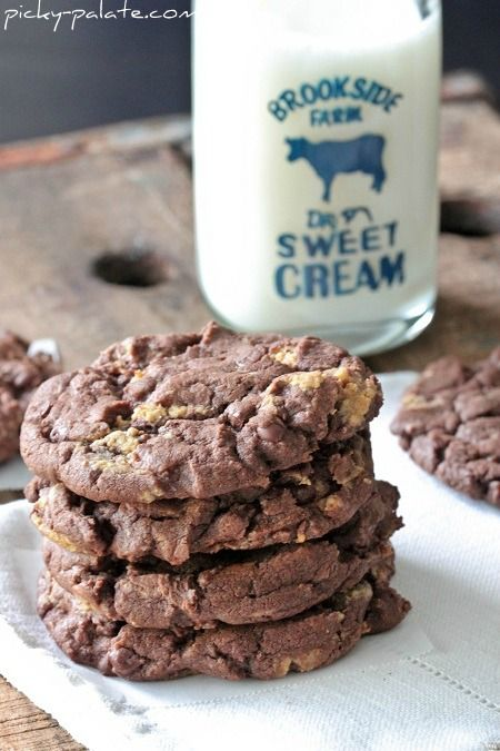 Chocolate Cake Reeses Peanut Butter Chunk Cookies - 5 ingredients