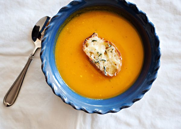 Squash Soup with Gruyere Croutons recipe - butter, onion, garlic ...