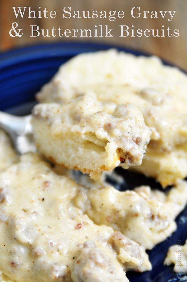 White Sausage Gravy and Buttermilk Biscuits Recipe via @addapinch ...