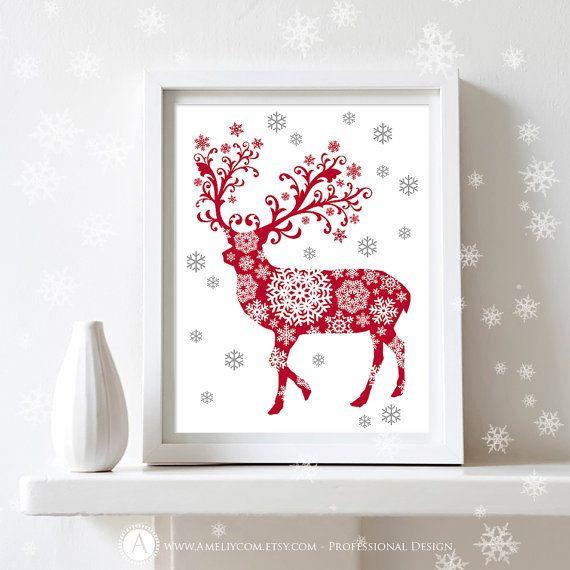 Silhouette art print christmas decoration diy wall decor for holiday