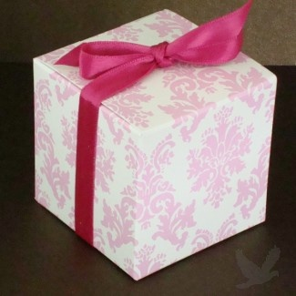 Personalized Favor Boxes - Light Pink and White Damask Cube Favor Box