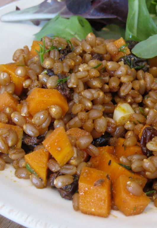 Butternut squash wheatberry risotto with goat cheese and sage