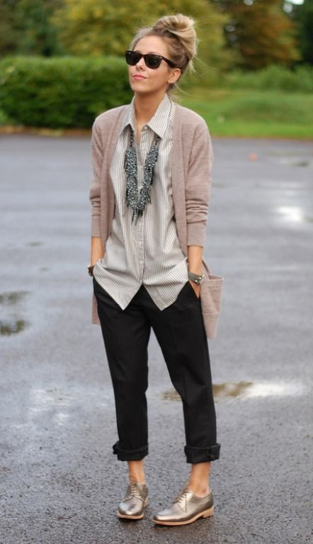 cardigan, button up, cuffed black pants, oxfords.