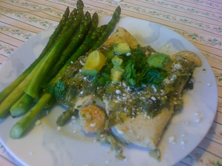 Shrimp and Cotija Enchiladas with Salsa Verde and Crema Mexicana | Re ...