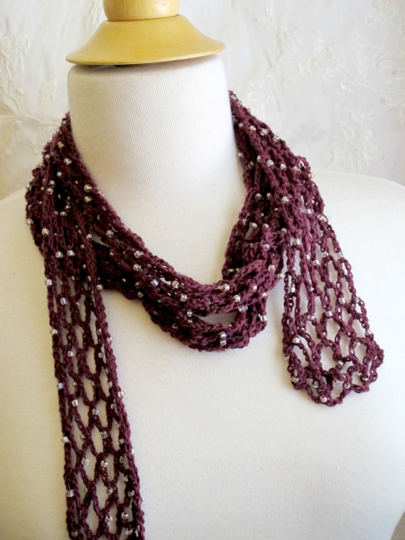 Crochet Scarf Pattern With Beads : Crocheted Burgundy Beaded Scarf. Cotton. Necklace