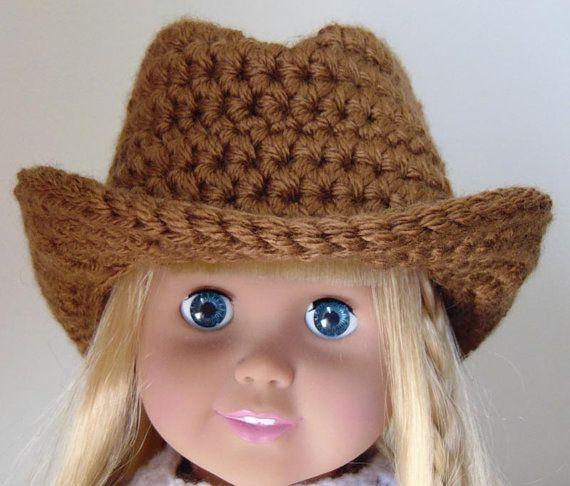 Free Crochet Cowboy Hat Pattern For Adults : 18in Doll PDF CROCHET PATTERN Doll Cowboy Hat, Cowgirl Hat ...