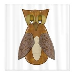 Brown textured owl shower curtain gt brown textured owl gt flamin graphic