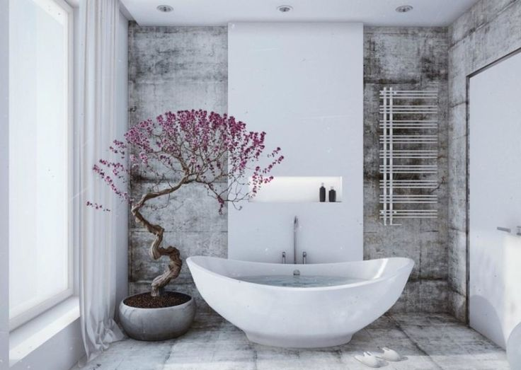 Bathroom Design With Vintage Walls And Freestanding White Bathtub