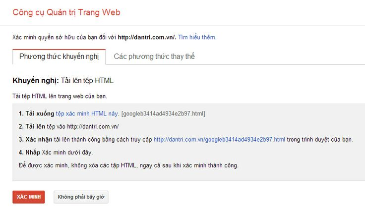 Xác minh quyền sở hữu trang web trong google webmaster tool bằng file tạo sẵn
